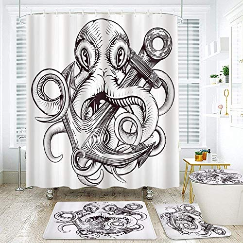 FOURFOOL Shower Curtain Sets with Non-Slip Rugs,Toilet Lid Cover and Bath Mat,Anchor Monochrome Octopus Tattoo Art Style Naval Sketch Mythical Kraken Beast Waterproof Bath Curtains Hooks Included