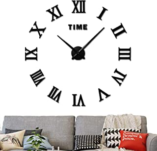 3D DIY Wall Clock, Frameless large wall clock Home Decoration Mute Mirror Wall Stickers Black Roman Numerals 2-Year Warranty(black)