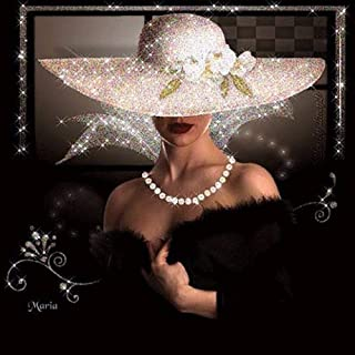 Qingyuge Diamond Drawing Full Drill Square 5D DIY Diamond Painting Lady in Black Dress and White Hat Diamond Embroidery Cross Stitch Mosaic Painting,60X70Cm