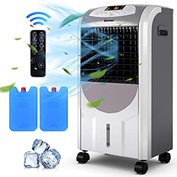 COSTWAY Air Cooler and Heater, Compact Portable Air Conditioner with Fan Filter Humidifier Ice Crystal Box Remote Control, Evaporative Cooler and Heater for Indoor, Home Office Dorms