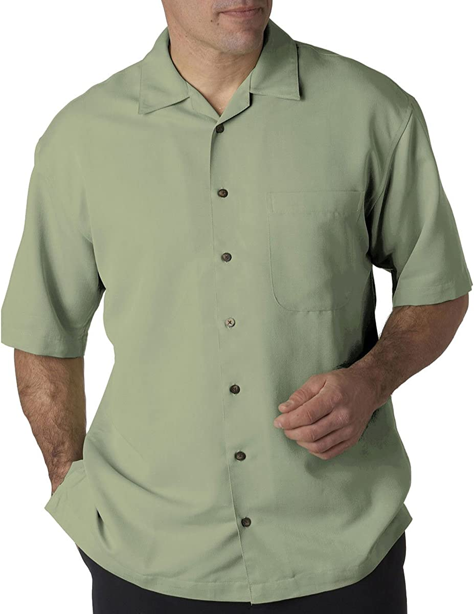 UltraClub Men's Microfiber Cabana Sand Washed Camp Button Shirt