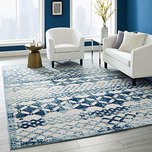 Modway Reflect Giada Distressed Vintage Abstract Diamond Moroccan Trellis 8x10 Indoor and Outdoor Area Rug, Ivory and Blue