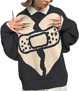 Suéter Argyle para mujer Y2k Fashion Vintage Sudadera casual de gran tamaño ropa de punto Outwear Ropa estética Otoño Invi...