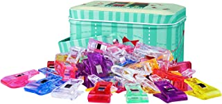 ONETWOSHARE Sewing Clips, Quilting Supplies 100PCS Multipurpose Plastic Clips with Tin Box for Crafting, Crochet and Knitting, Quilting Binding Clips, Paper Clips, Assorted Colors 100 Pack 2 Sizes