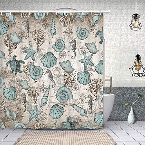 """Coastal Shower Curtain Beach Ocean Shower Curtain Vintage Nautical Bathroom Curtain with 12 Hooks, Turtle Coral Bathroom Shower Curtains, Starfish Shell Shower Curtain for Bathroom, 69"""" x 70"""""""