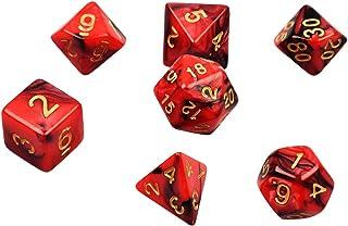 多面体サイコロ アクリル ダイス 7サイズ クトゥルフ神話TRPG などテーブルゲーム用カードゲーム 知育 教育などに 黒赤