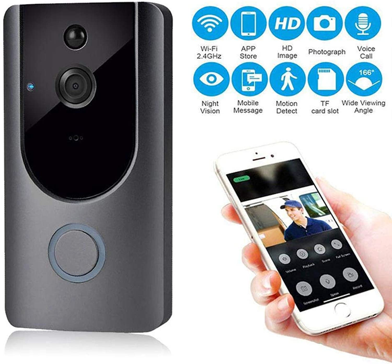 KUKUDIJIE WiFi Video Doorbell Wireless Visual with PIR Detection HD Night Vision TwoWay Audio Intercom Recording
