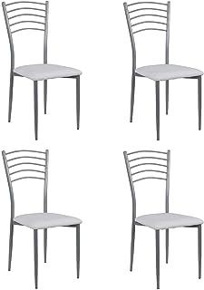 Noorsk Design Lote de 4 sillas de Cocina Turín (Blanco)