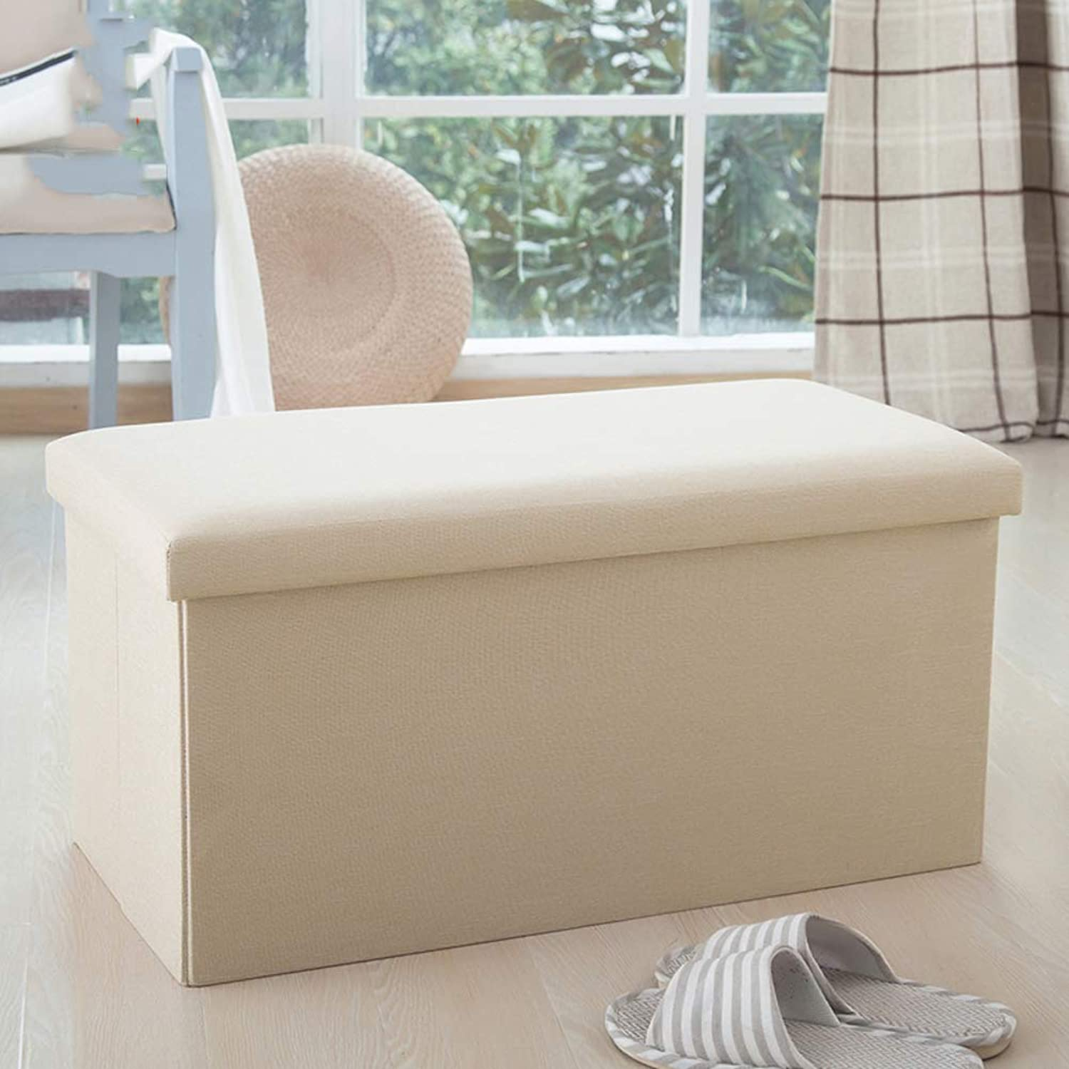 Cube Storage Foldable Linen Footstool with upholstered Padded seat Large Capacity Flipping lid -C 76x38x38cm