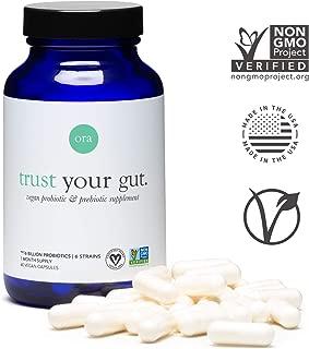Ora Organic Probiotics with Prebiotics - Vegan Probiotic - Made in California - for Women & Men, Clean Ingredients, Non-GMO, Dairy, Gluten Free & Easy on Sensitive Stomachs, Glass Bottle