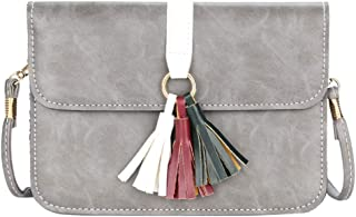 Women's Shoulder Bag, Small Capacity pu Leather, Simple Retro Cross-Body Bag, Tassel, Suitable for Shopping, Dating,Gray