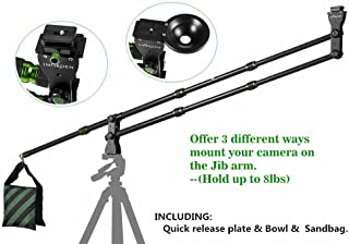 IMORDEN 5.7ft/1.7m Foldable and Entendable Mini Carbon Fiber Camera Crane(Hold up to 8lbs/3.6kg) Jib Arm with Environmental Carrying Bag, Empty Sandbag, Bowl and Acra-Swiss Quick Release Plate