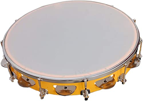 Tambourine 12 Inch Yellow Color Hand Percussion Musical Instrument Chopra Musicals