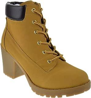 SODA Women's Korman Faux Leather Lace Up High Chunky Heel...