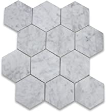 Stone Center Online Carrara White Italian Carrera Marble Hexagon Mosaic Tile 4 inch Polished Venato Bianco Bathroom Kitchen Wall Floor Tile