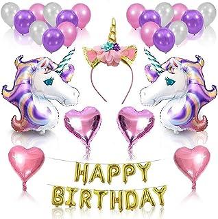 Mumoo Bear Unicorn Party Supplies Set, Glitter Unicorn Headband Unicorn Balloons Gold Happy Birthday Banner Latex and Foil...