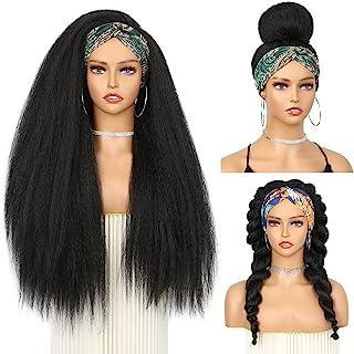 WIGNEE Straight Headband Wigs for Women Yaki Straight Wigs with Black Headband for Black Women (26Inch)