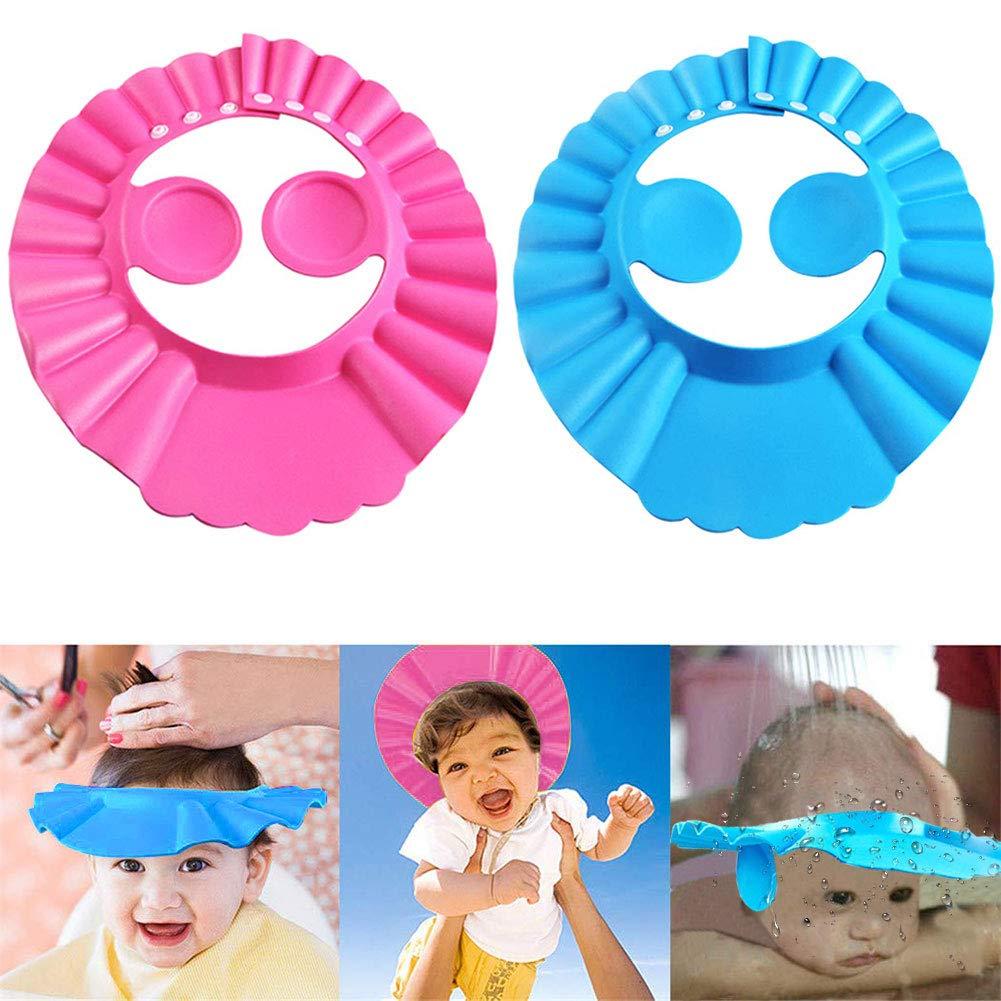 Baby Shower Cap Bathing Cap - 2 Pcs Soft Adjustable Visor Hat Safe Shampoo Shower Bathing Protection Bath Cap for Toddler, Baby, Kids, Children