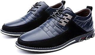 Zapatos de Cuero Oxford de Negocios con Cordones británicos Casuales para Hombres Zapatos de Oficina de conducción de Empa...