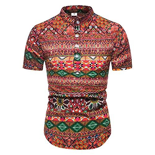 Playa Shirt Hombre Personalidad Vintage Estampado Verano Hombre Shirt Moderno Casual Vacaciones Botón Placket Manga Corta Ajustado Collar Pie Wicking Transpirable Camisa P-PL16 L