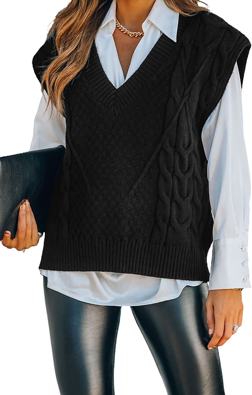 EARKOHA Women Solid V Neck Twist Knitted Knit Sweater Vest Sleeveless Loose Waistcoat Pullover