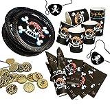 Jolly Roger Piratenset für 8 Kinder, schwarzer Pirat, Teller, Servietten, Becher, Münzen,...