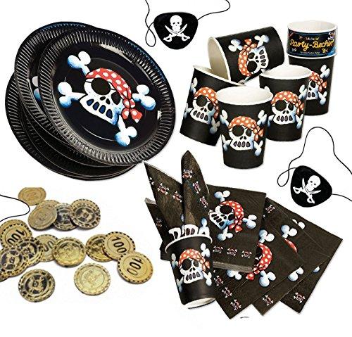 Jolly Roger Piratenset für 8 Kinder, schwarzer Pirat, Teller, Servietten, Becher, Münzen, Augenklappen