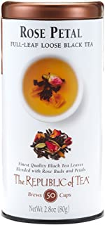 The Republic of Tea Rose Petal Black Full-Leaf Tea, 2.8 Ounces / 50-60 Cups