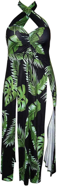 XXBR Dresses for Womens Plus Size, 2021 Summer Boho Leaves Sexy Wedding V-Neck Sling Halter Backless Loose Maxi Dress