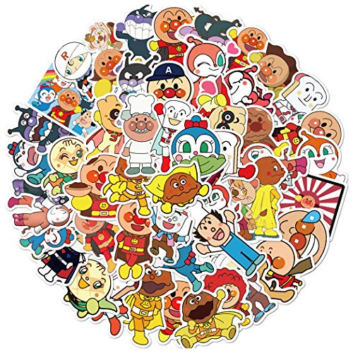 Anpanman Sticker 50 Pcs Waterproof, Removable,Lovely,Beautiful,Stylish Teen Stickers, Suitable for Boys and Girls in Water Bottles, laptops, Phones,Guitar, Suitcase Durable Vinyl