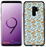 Playful Corgi Pattern On Blue for Samsung Galaxy S9 2018 Case Cover by Atomic Market