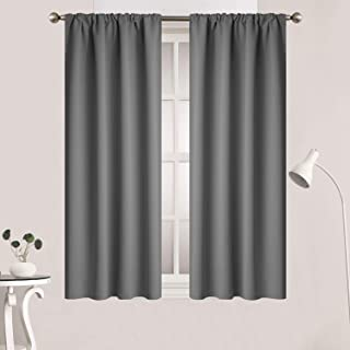 Yakamok Gray Rod Pocket Curtains Room Darkening Thermal Insulated Blackout Curtains for Bedroom, Window Treatment Drapes for Living Room, 38W x 45L Inch, Grey, 2 Panels