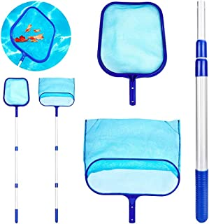 Pool Landing Net Set, Pool Cleaning Floor Net Deep Fine Leaf Net Flat with Flexible Telescopic Pole Pool Accessories Pool ...
