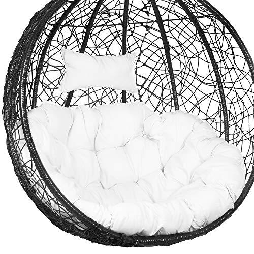 SPRINGOSⓇ Schaukelkissen|Hängesessel Kissen|100 x 120 cm|Polster mit Kopfstütze|Auflage für Polyrattan/Rattan Hängeschaukel|Rückenkissen|Kopfstütze|Weiß (Weiß)