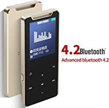 MP3 Player with Bluetooth 4.2,MP3 Music Player 16GB Hi-Fi Lossless Sound Quality Patent Metal Body with FM Radio Voice Recorder Touch Button Built in Speaker Support up to 128GB (Gold)