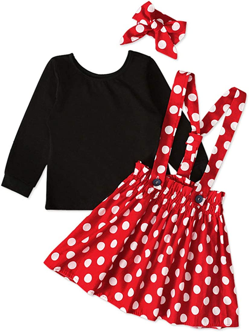 Baby Toddler Girls Ruffles Disney Dress Overall, Cartoon Bow Casual Polka Dot Skirt Set Playwear Outfits