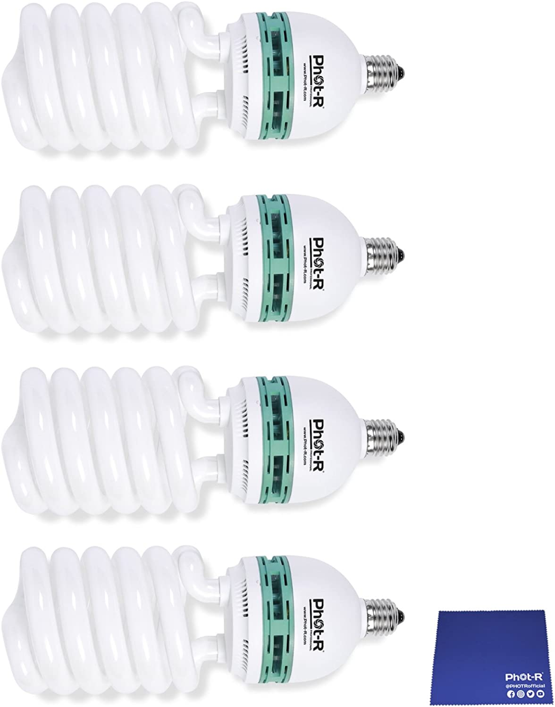 Phot-R 4 x 750W (150W) 220V 5500K E27 Sockel CFL Spiraldurch dem Tageslicht Leuchtstofflampen Energiesparlampen für professionelle Fotografie Foto-Video-Studio-Beleuchtung + Chamois Tuch