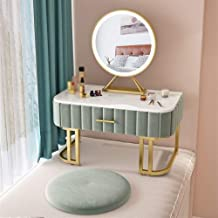 JSZMD Bay Window Dressing Table, Nordic Tatami Marble Storage Cabinet, with Illuminated Mirror and Cushion, Suitable for G...