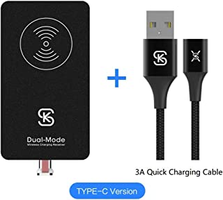 USB C Magnetic Wireless Charger Receiver Kit SIKAI Ultra Slim Combination Wired & Wireless Charging Cable Magnetic Wireless Receiver with Free Magnetic Cable (for USB C)