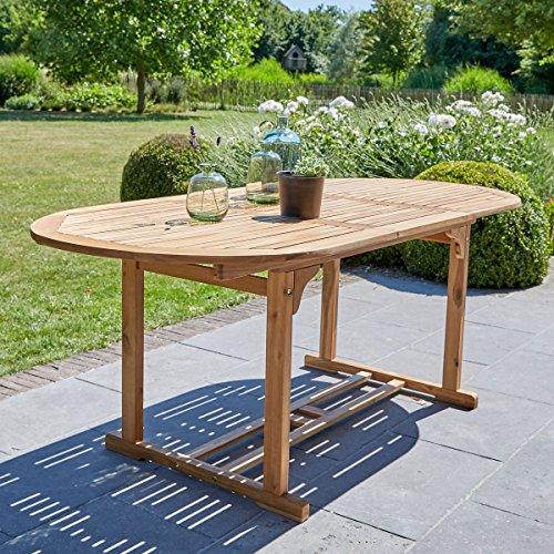 Table de Jardin en Bois d'acacia FSC avec rallonge 6 à 8 Places