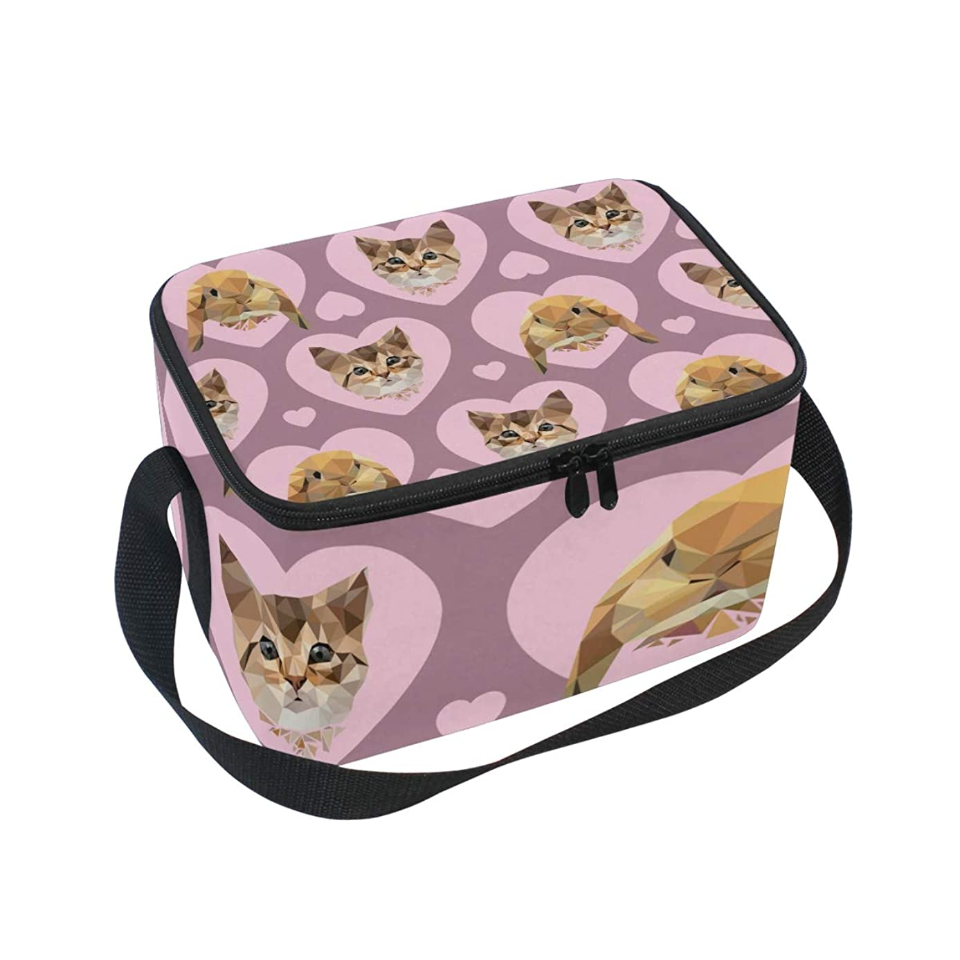 Insulated Lunch Bag Pink Love Heart Cat Rabbit Head Lunchbox Thermal Handbag Food Container Cooler Reusable Outdoors Travel Work School Strap Lunch Tote