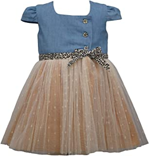 Bonnie Jean Baby Girl's Denim Ballerina Dress with Animal Leopard Print Trim for Baby and Toddler Girls