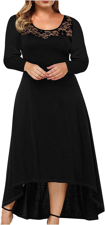 Plus Size Womens Lace V Neck Plus Size Long Sleeve Knee Length Cocktail Wedding Swing Dress