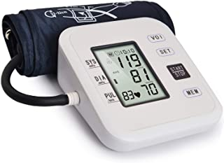 Hong S Automatic Blood Pressure Monitor Accurate Clinical Digital High Upper Arm Blood Pressure Monitor with 99 Set Memory Monitoring Meter Adjustable Cuff for 2 User Suitable for Home Use-White