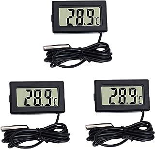 DIFCUL Mini Thermomètre Moniteur de température de thermomètre LCD numérique avec sonde externe pour voiture/réfrigérateu...