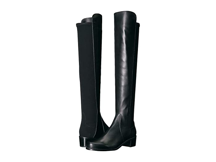 Stuart Weitzman  Reserve Knee High Boot (Black Nappa/Stretch Gabardine) Womens Dress Pull-on Boots