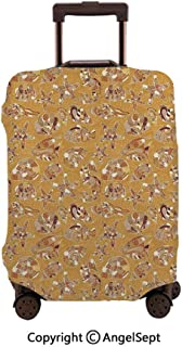 Home Protective Washable Suitcase Cover,Pattern of Fish Shells Starfish Sea Horse Water Creatures Sea Life Mustard Brown,26x37.8inches,Travel Elastic Polyster Suitcase Protector