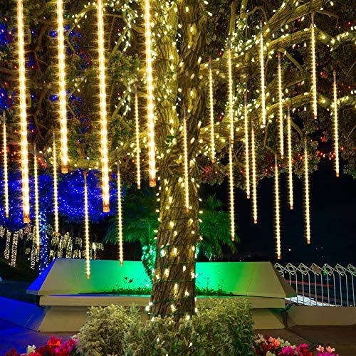 Petrichor Aufgerüstet Meteorschauer Regen Lichter, 50cm 10 Spirale Tubes 480 LEDs Wasserdichte Schneefall Lichterkette für Draussen/Innenraum/Garten/Hochzeit/Party/Weihnachten Dekoration (warm)