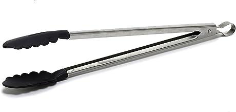ملقط طعام مصنوع من الفولاذ المقاوم للصدأ IMU-71108 مع مقبض من السيليكون وطرف 40.64 سم، أسود من IMUSA USA USA