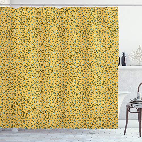 ABAKUHAUS Stars Douchegordijn, Cartoonish Onregelmatige Bestel, stoffen badkamerdecoratieset met haakjes, 175 x 200 cm, Earth Yellow Aqua